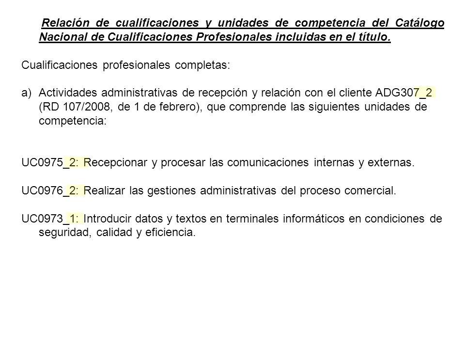 Relación de cualificaciones y unidades de competencia del Catálogo Nacional de Cualificaciones Profesionales incluidas en el título.