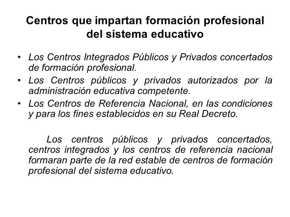Centros que impartan formación profesional del sistema educativo