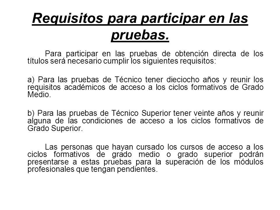 Requisitos para participar en las pruebas.