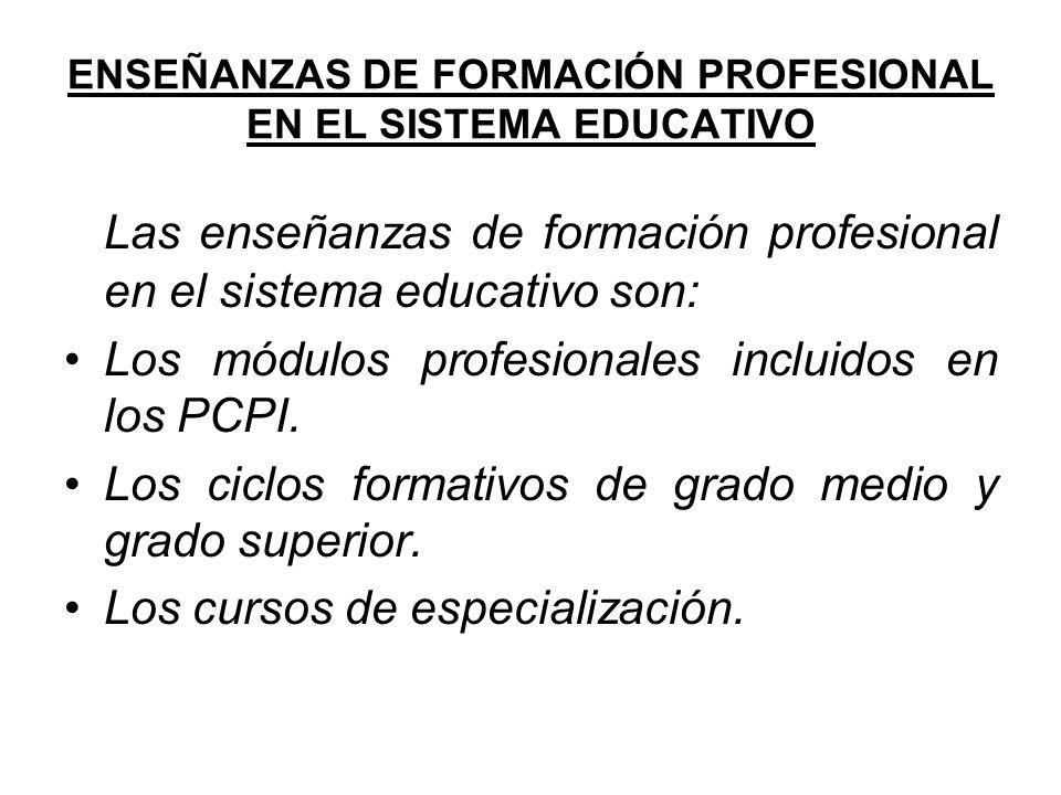 ENSEÑANZAS DE FORMACIÓN PROFESIONAL EN EL SISTEMA EDUCATIVO