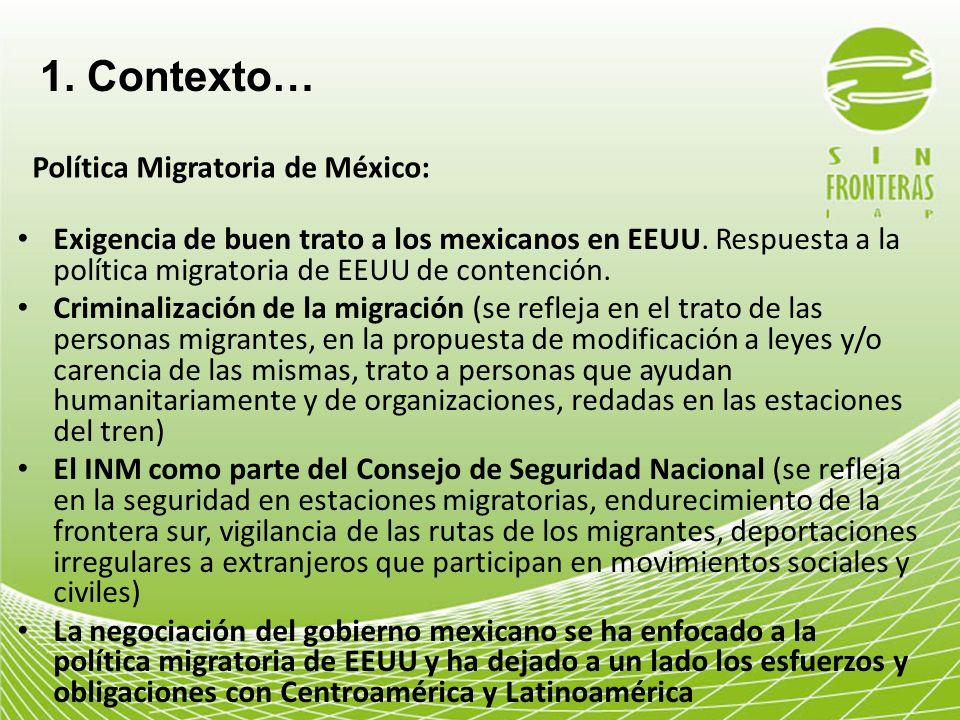 1. Contexto… Política Migratoria de México: