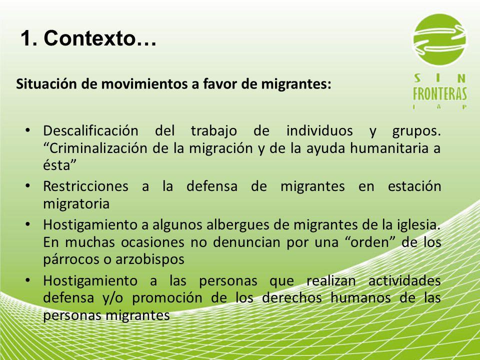 1. Contexto… Situación de movimientos a favor de migrantes: