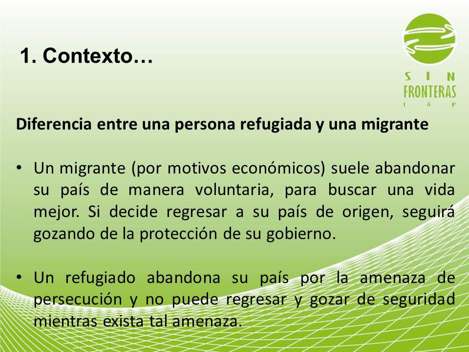 1. Contexto… Diferencia entre una persona refugiada y una migrante