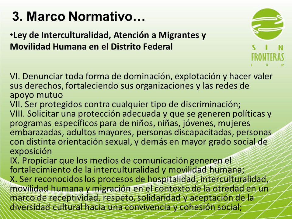 3. Marco Normativo…Ley de Interculturalidad, Atención a Migrantes y Movilidad Humana en el Distrito Federal.