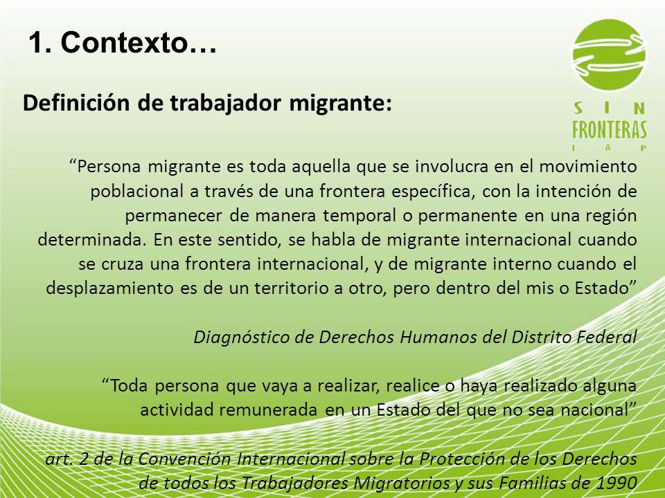1. Contexto… Definición de trabajador migrante: