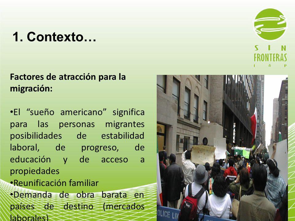 1. Contexto… Factores de atracción para la migración: