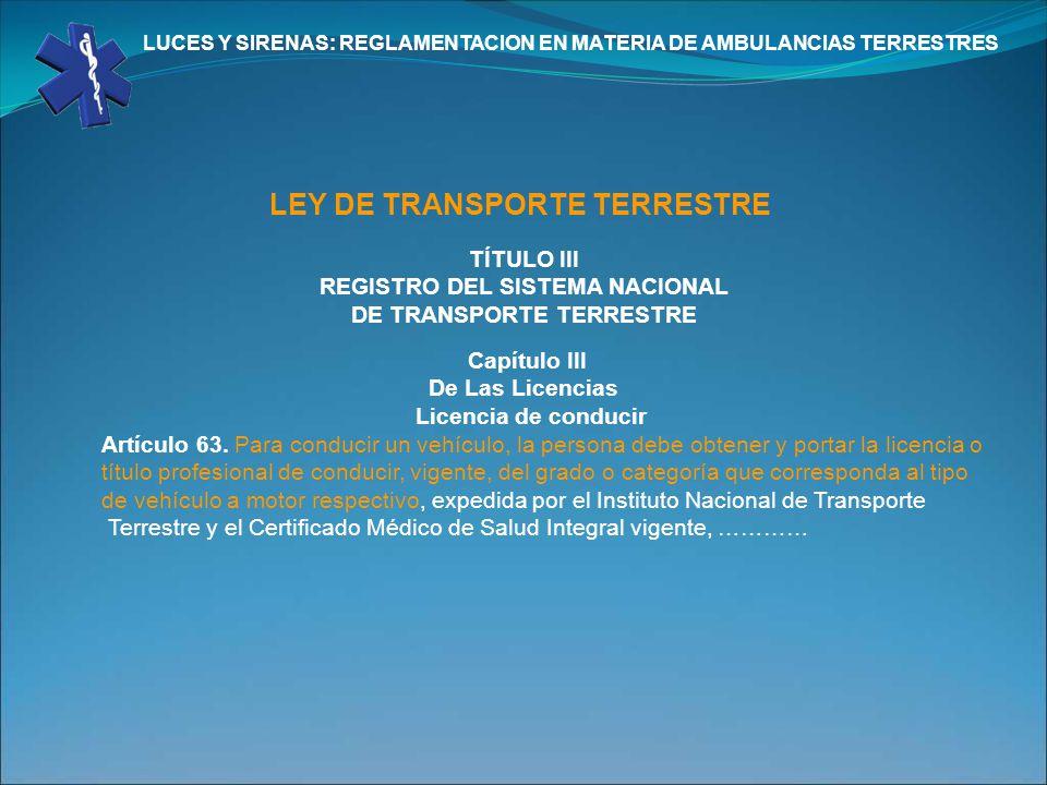 LEY DE TRANSPORTE TERRESTRE