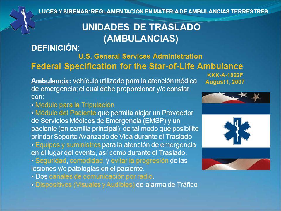 UNIDADES DE TRASLADO (AMBULANCIAS)