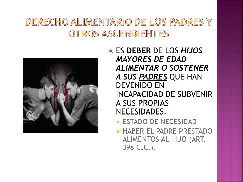 DERECHO ALIMENTARIO DE LOS PADRES Y OTROS ASCENDIENTES