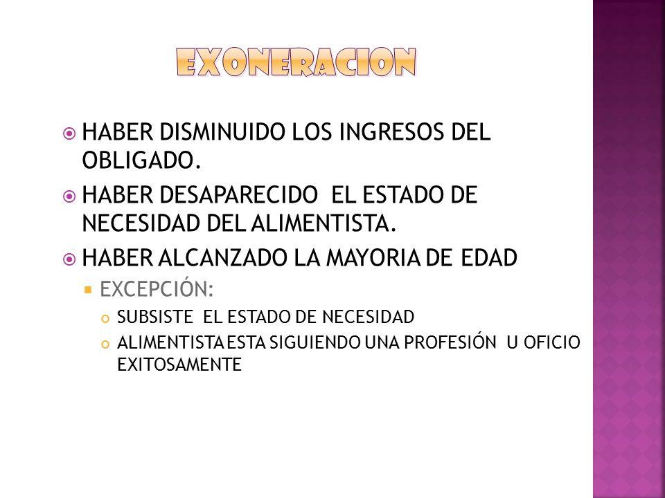 EXONERACION HABER DISMINUIDO LOS INGRESOS DEL OBLIGADO.