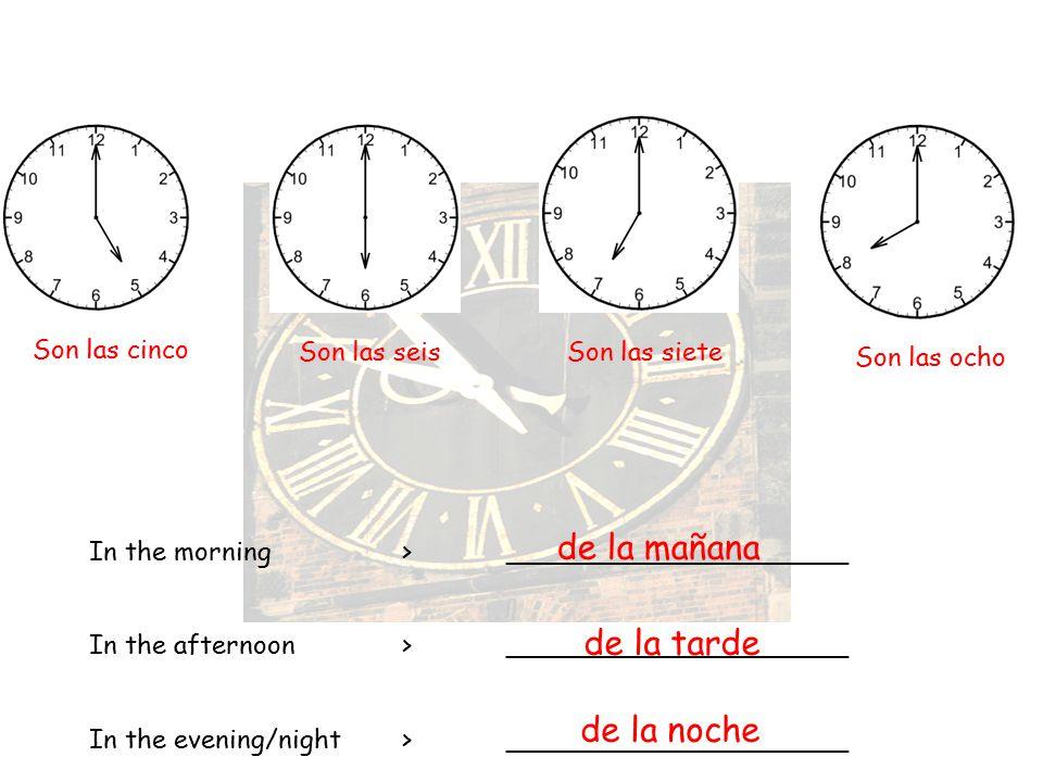 de la mañana de la tarde de la noche Son las cinco Son las seis