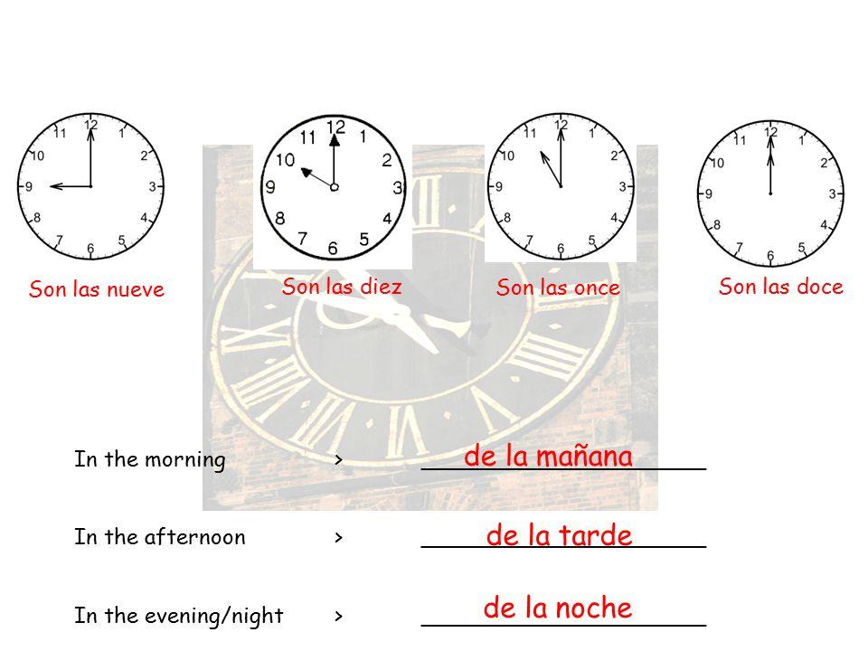 de la mañana de la tarde de la noche Son las nueve Son las diez