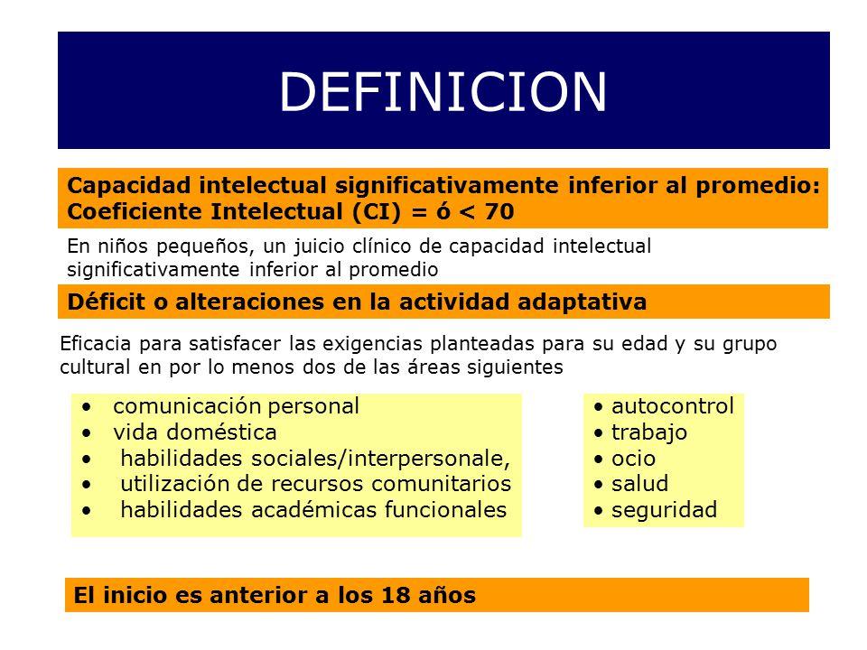 DEFINICION Capacidad intelectual significativamente inferior al promedio: Coeficiente Intelectual (CI) = ó < 70.