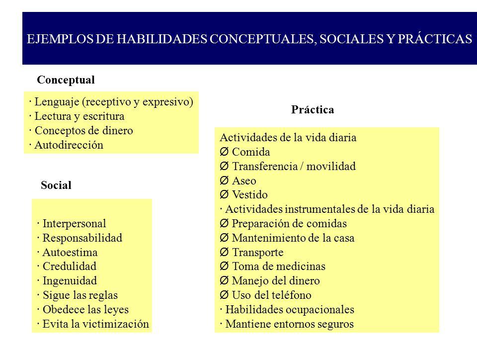 EJEMPLOS DE HABILIDADES CONCEPTUALES, SOCIALES Y PRÁCTICAS