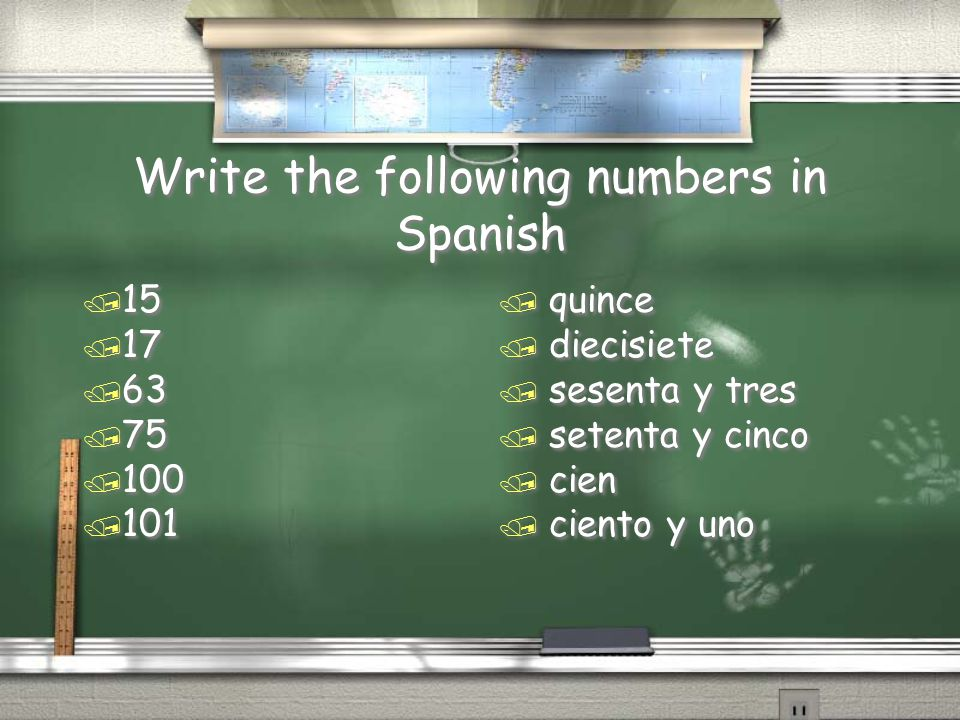 Write the following numbers in Spanish
