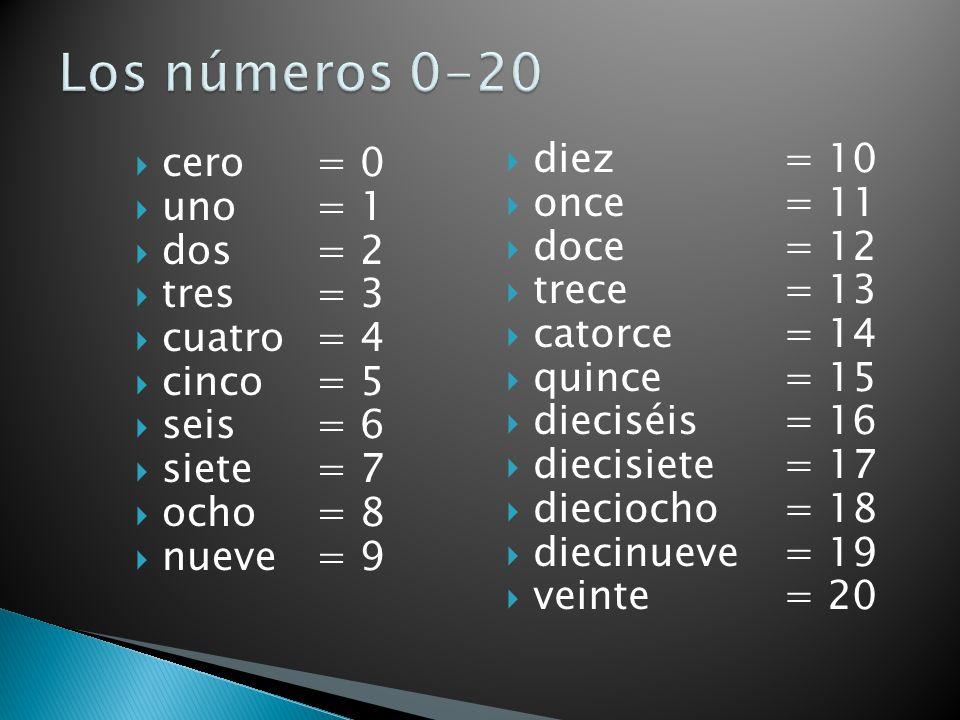 Los números 0-20 diez = 10 cero = 0 once = 11 uno = 1 doce = 12