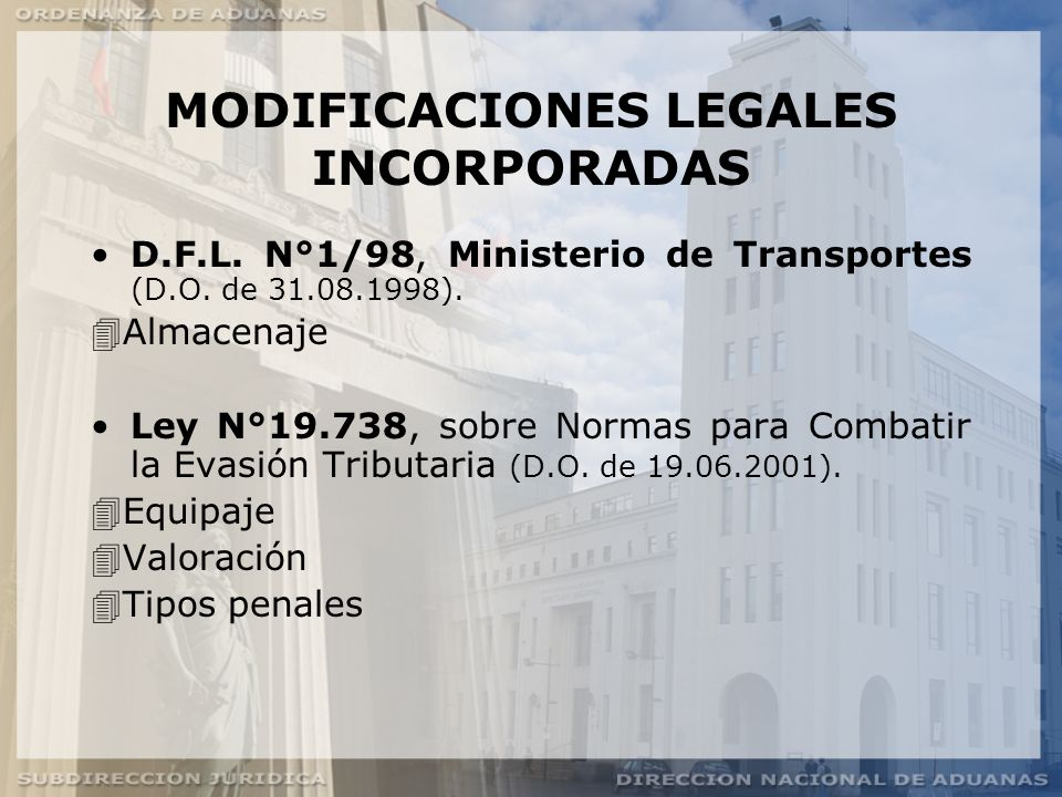 MODIFICACIONES LEGALES INCORPORADAS