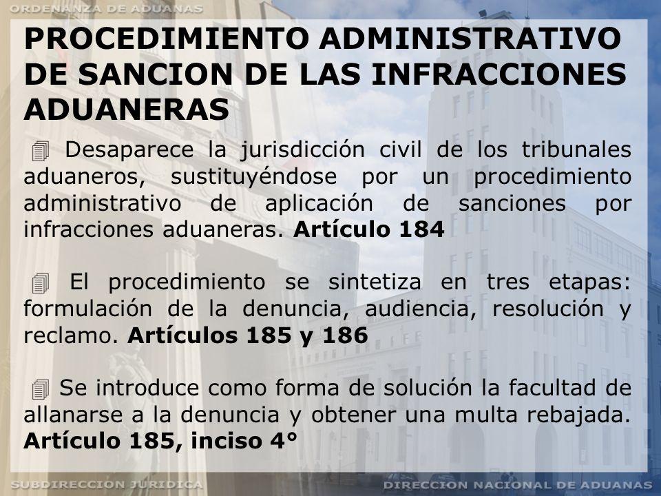 PROCEDIMIENTO ADMINISTRATIVO DE SANCION DE LAS INFRACCIONES ADUANERAS