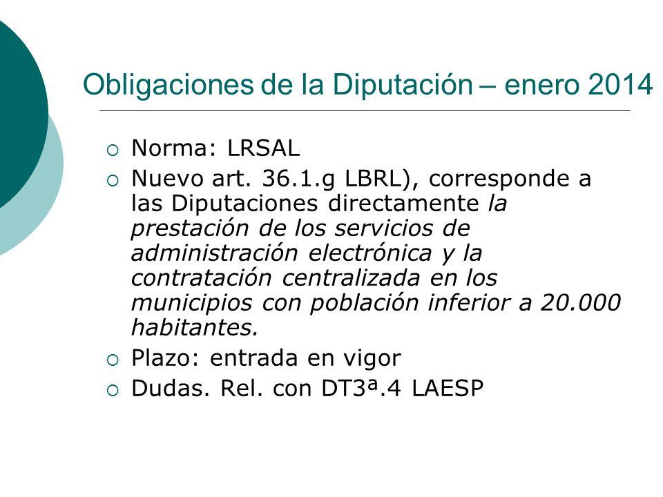 Obligaciones de la Diputación – enero 2014