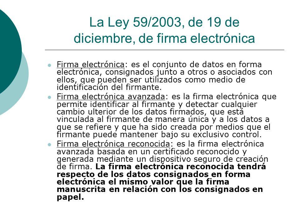 La Ley 59/2003, de 19 de diciembre, de firma electrónica