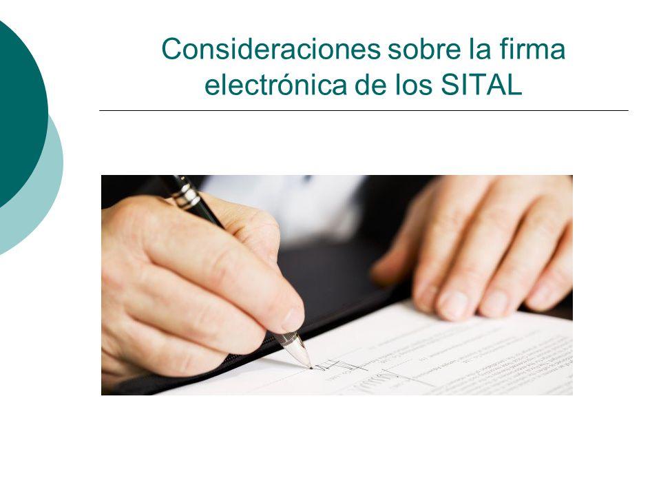 Consideraciones sobre la firma electrónica de los SITAL