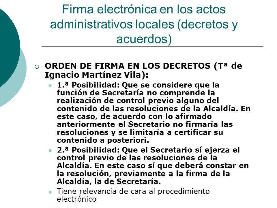 Firma electrónica en los actos administrativos locales (decretos y acuerdos)