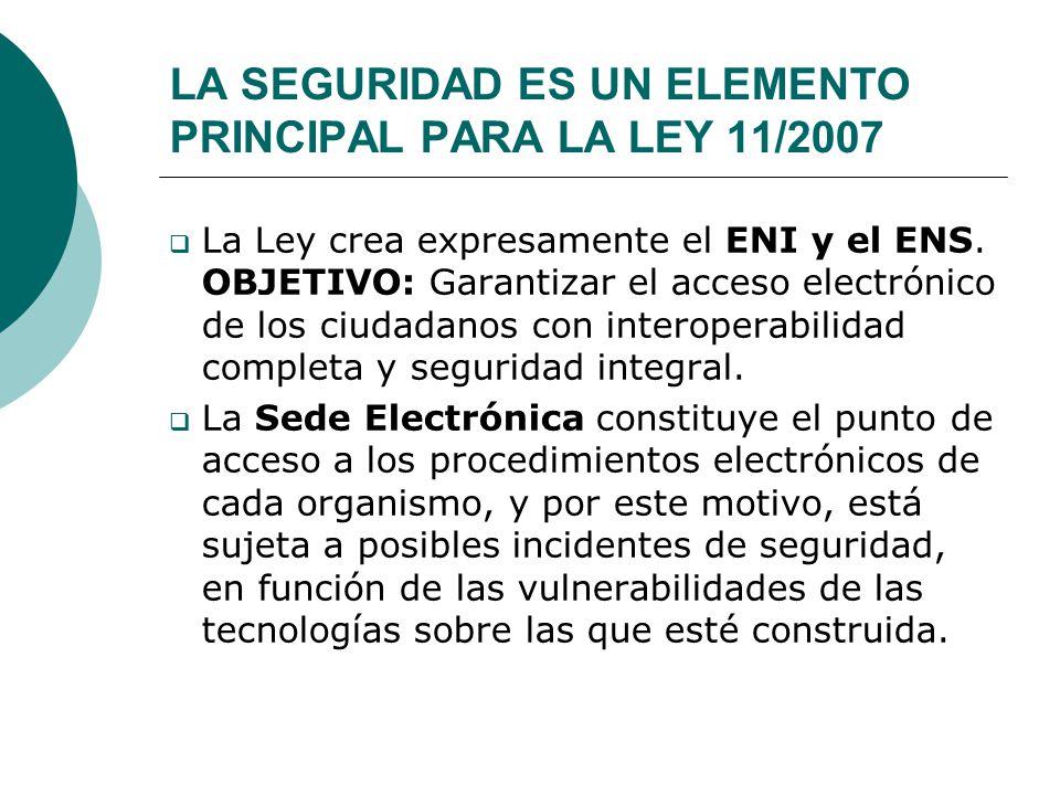 LA SEGURIDAD ES UN ELEMENTO PRINCIPAL PARA LA LEY 11/2007