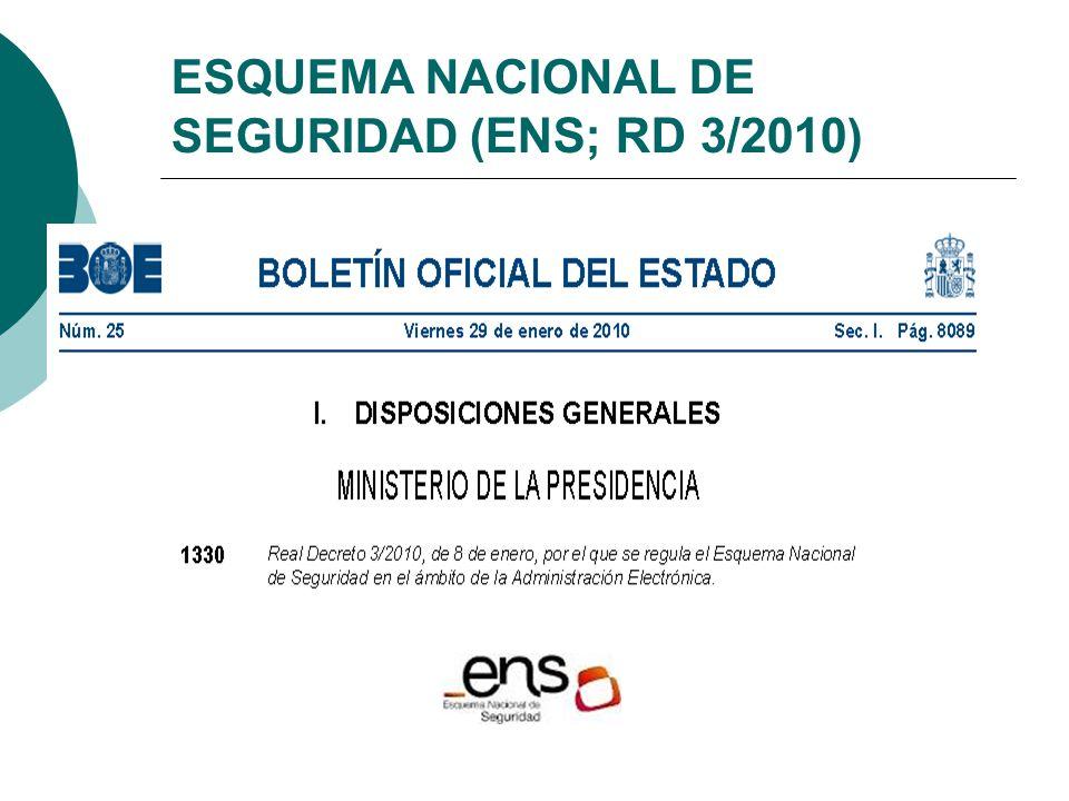 ESQUEMA NACIONAL DE SEGURIDAD (ENS; RD 3/2010)