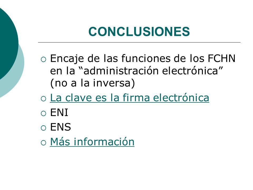CONCLUSIONES Encaje de las funciones de los FCHN en la administración electrónica (no a la inversa)