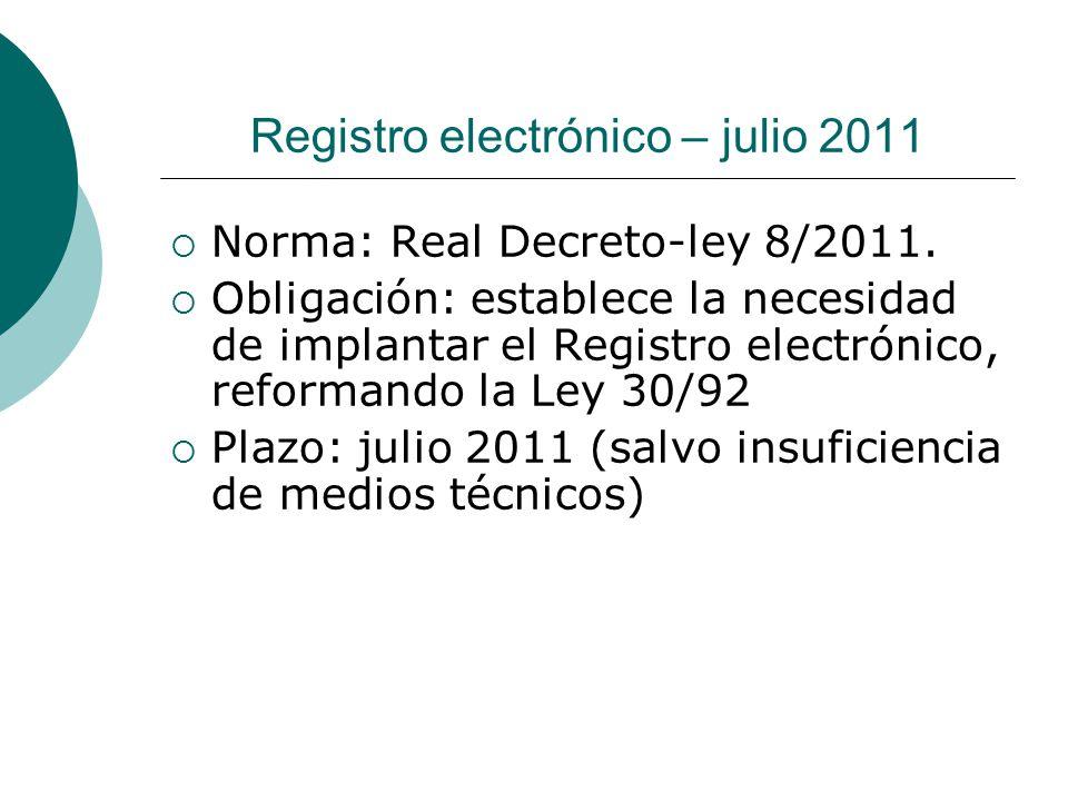 Registro electrónico – julio 2011
