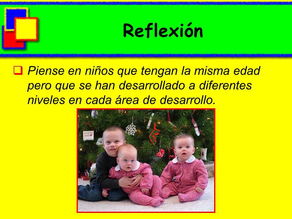 Reflexión Piense en niños que tengan la misma edad pero que se han desarrollado a diferentes niveles en cada área de desarrollo.