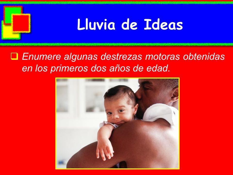 Lluvia de Ideas Enumere algunas destrezas motoras obtenidas en los primeros dos años de edad.