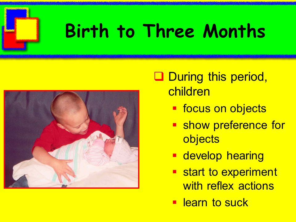 Birth to Three Months During this period, children focus on objects