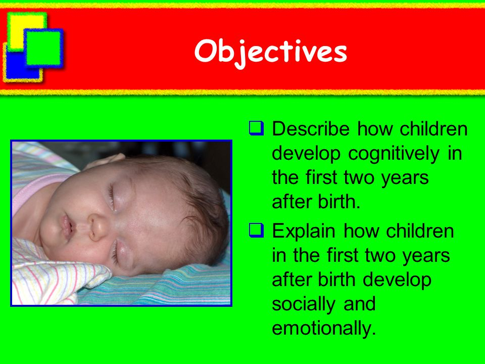 Objectives Describe how children develop cognitively in the first two years after birth.