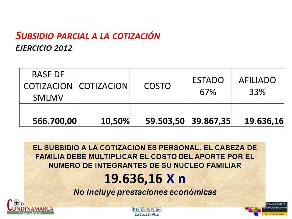 Subsidio parcial a la cotización EJERCICIO 2012