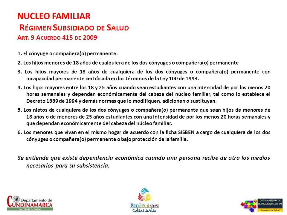NUCLEO FAMILIAR Régimen Subsidiado de Salud Art. 9 Acuerdo 415 de 2009