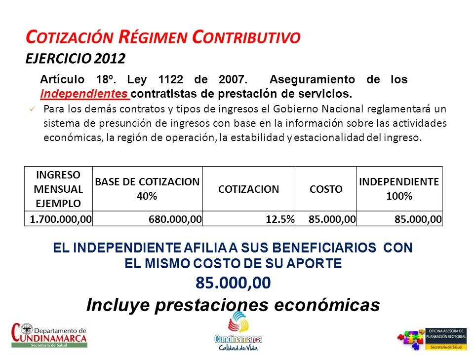 Cotización Régimen Contributivo EJERCICIO 2012
