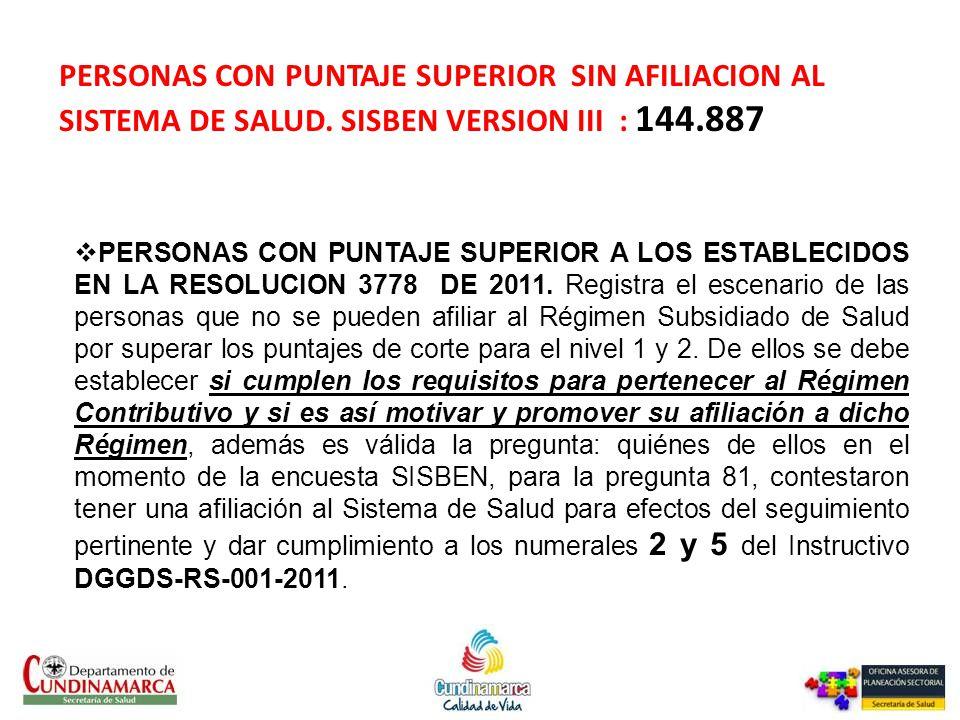 PERSONAS CON PUNTAJE SUPERIOR SIN AFILIACION AL SISTEMA DE SALUD
