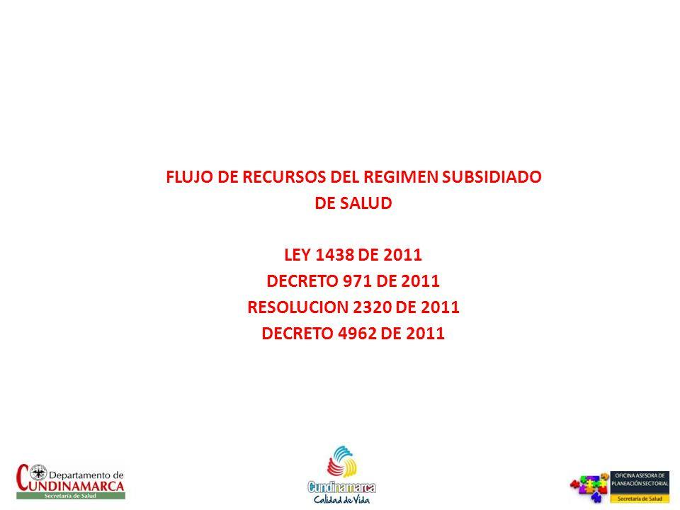 FLUJO DE RECURSOS DEL REGIMEN SUBSIDIADO