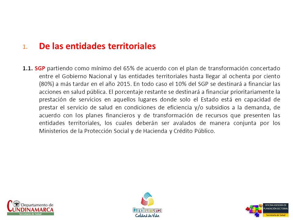 De las entidades territoriales