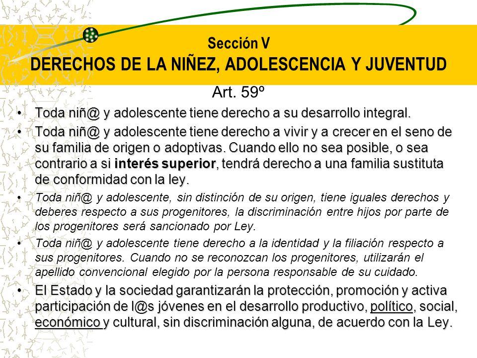 Sección V DERECHOS DE LA NIÑEZ, ADOLESCENCIA Y JUVENTUD