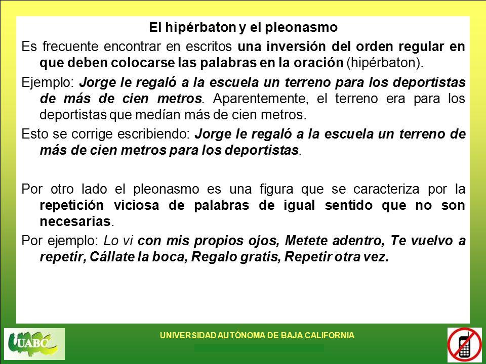 El hipérbaton y el pleonasmo