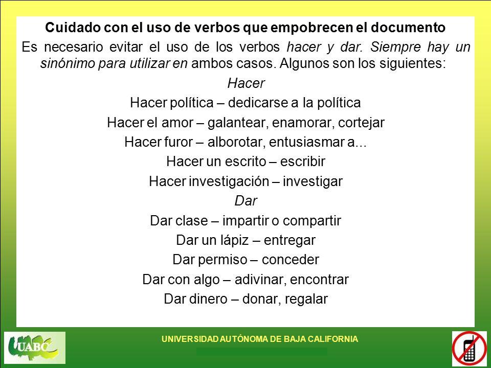 Cuidado con el uso de verbos que empobrecen el documento