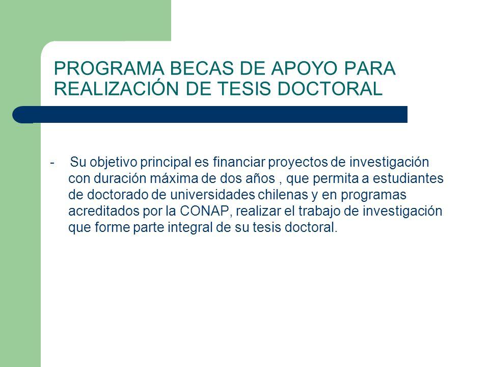 PROGRAMA BECAS DE APOYO PARA REALIZACIÓN DE TESIS DOCTORAL
