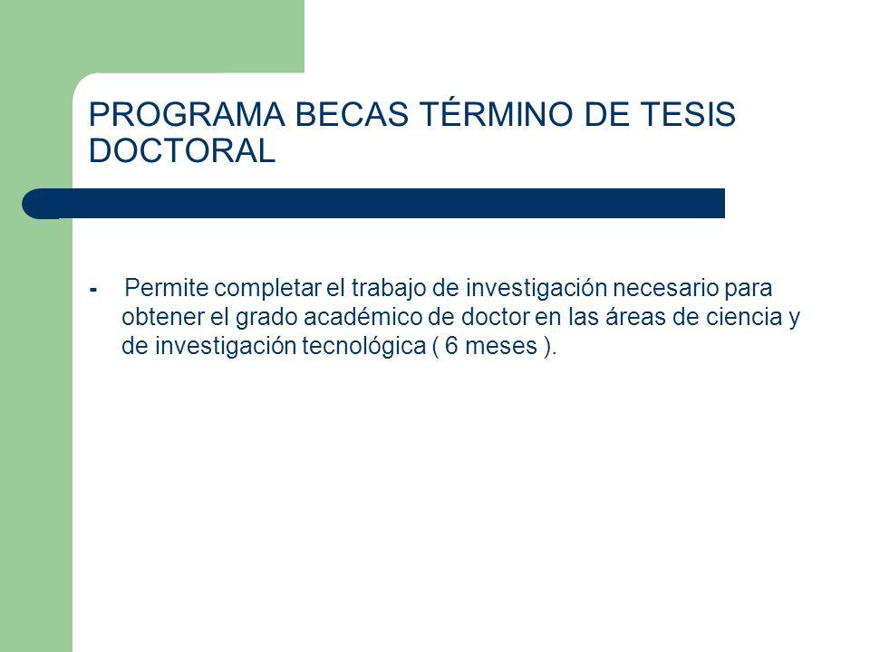PROGRAMA BECAS TÉRMINO DE TESIS DOCTORAL
