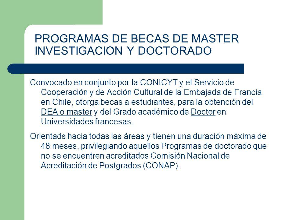 PROGRAMAS DE BECAS DE MASTER INVESTIGACION Y DOCTORADO