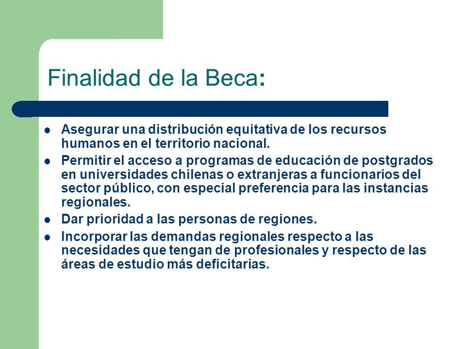Finalidad de la Beca: Asegurar una distribución equitativa de los recursos humanos en el territorio nacional.