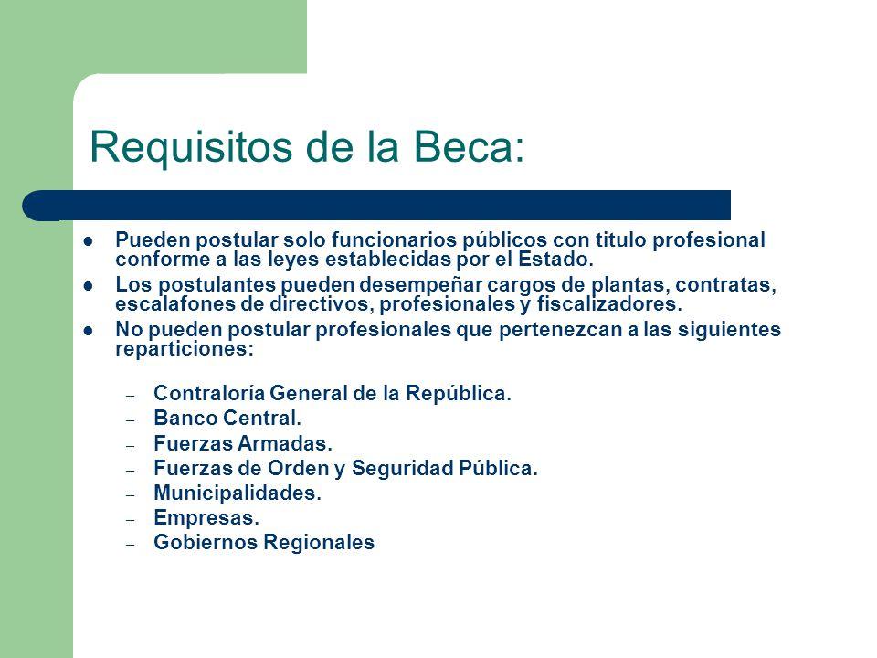 Requisitos de la Beca: Pueden postular solo funcionarios públicos con titulo profesional conforme a las leyes establecidas por el Estado.