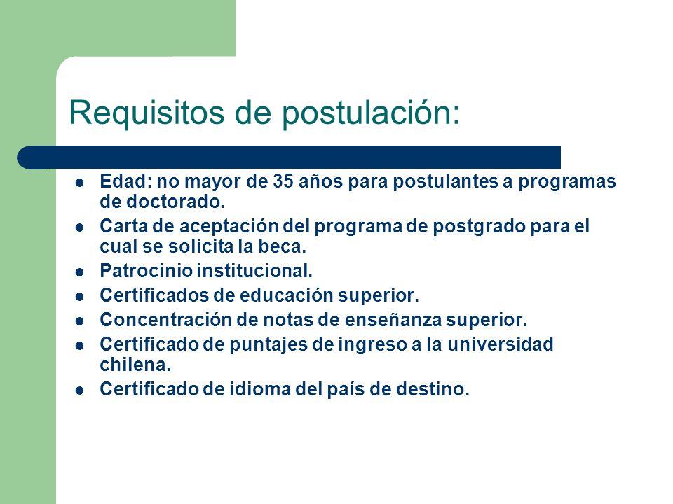 Requisitos de postulación: