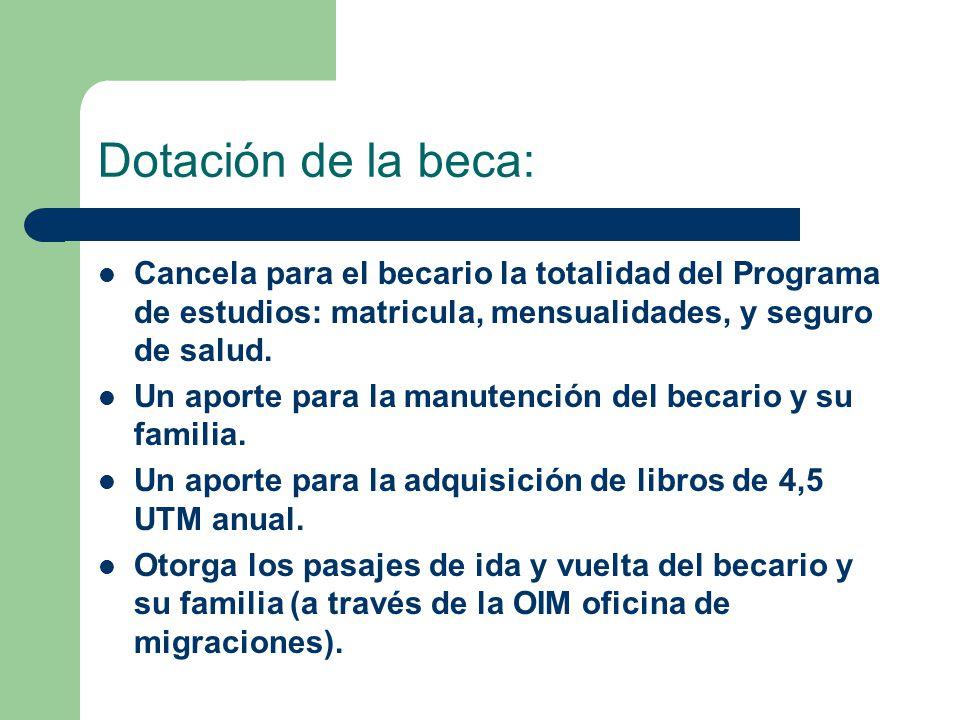 Dotación de la beca: Cancela para el becario la totalidad del Programa de estudios: matricula, mensualidades, y seguro de salud.